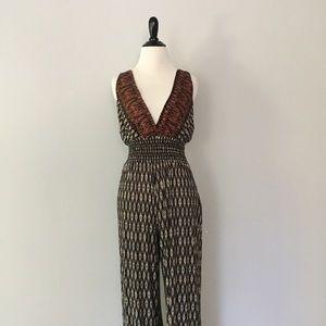 Vintage Open Back Plunging Neckline Jumpsuit